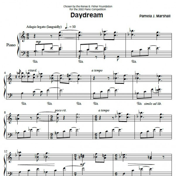 Page from Daydream, intermediate-level music for piano