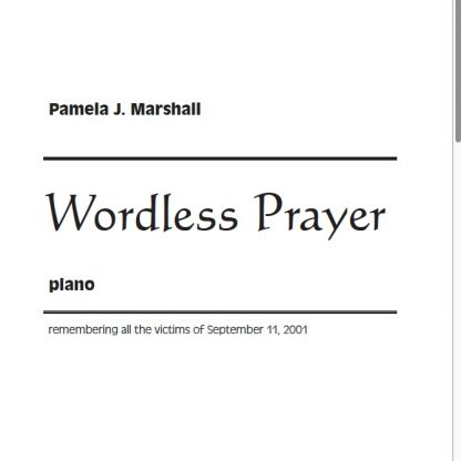 Cover of Wordless Prayer, a meditation for piano