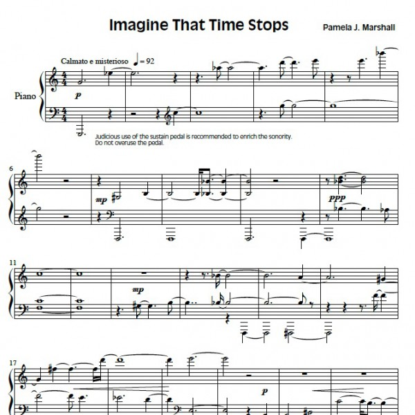 Page from Imagine That Time Stops, intermediate-level music for piano