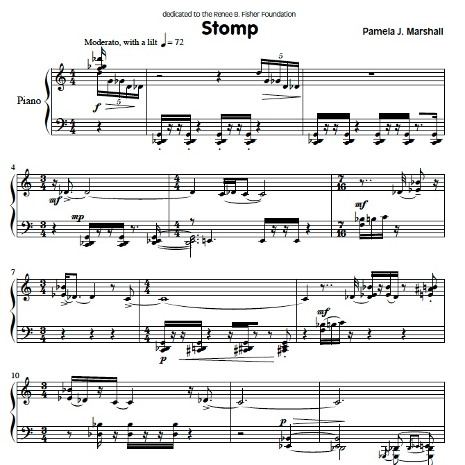 Page from Stomp, contemporary music for piano