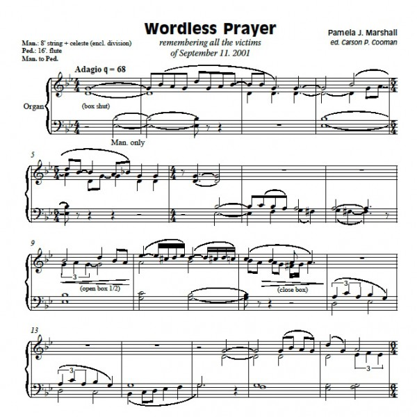 Page from Wordless Prayer, a meditation for organ