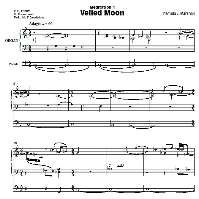 Page from Meditations, contemporary music for organ