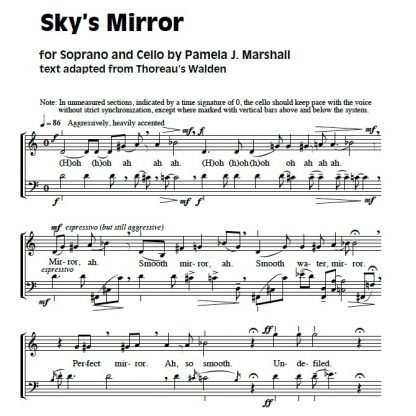 Page from Sky's Mirror, contemporary vocal music with cello