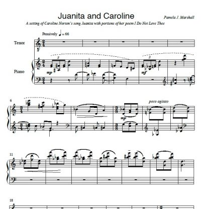 First page from Remember the Old Songs, Juanita and Caroline