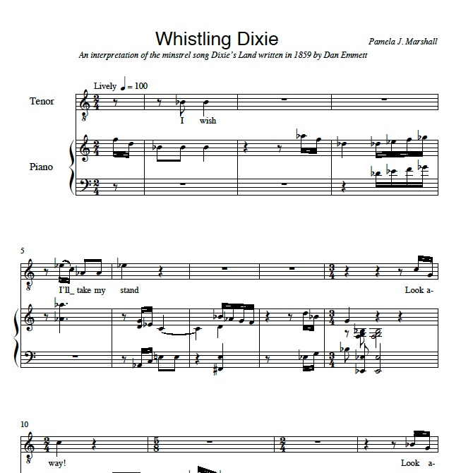 First page from Remember the Old Songs, Whistling Dixie