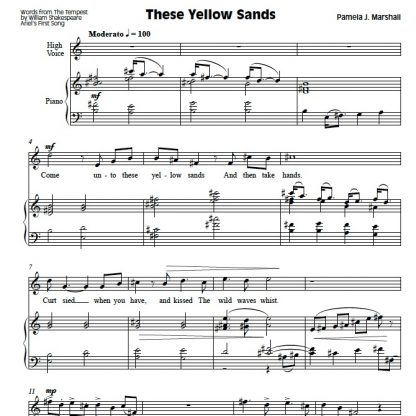 First page of These Yellow Sands in Ariel's Songs