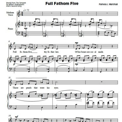 First page of Full Fathom Five in Ariel's Songs