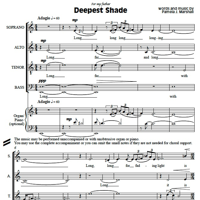 Opening measures of Deepest Shade for chorus