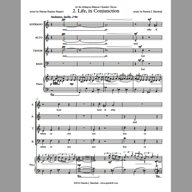 Page 1 of Life, In Conjunction for chorus and piano