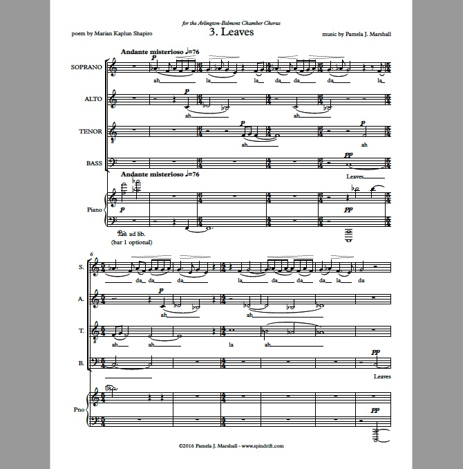 Page 1 of Leaves for chorus and piano