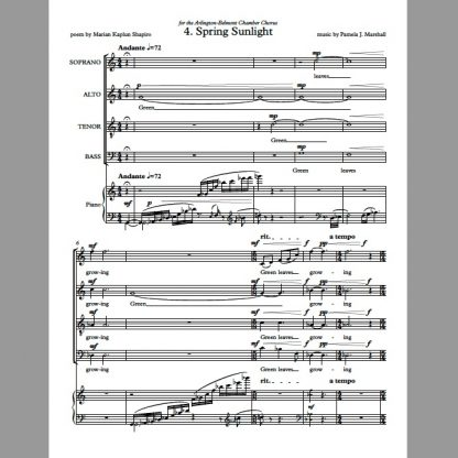 Page 1 of Spring Sunlight for chorus and piano