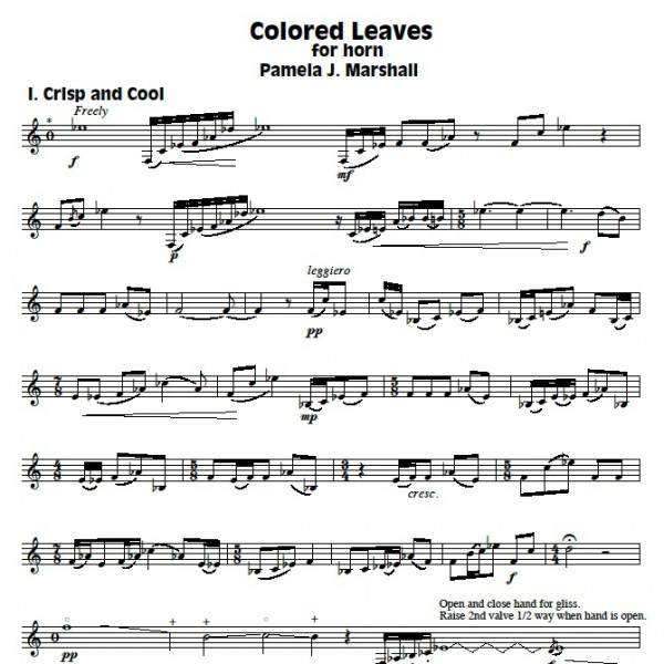Page from Colored Leaves, contemporary solo for horn alone by Pamela J. Marshall