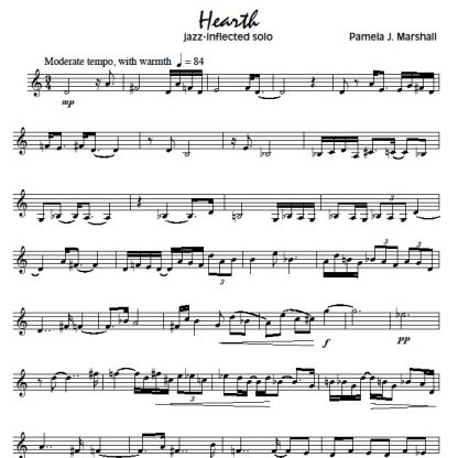 Page from Jazz-Inflected Etudes for trumpet or other treble-clef instrument