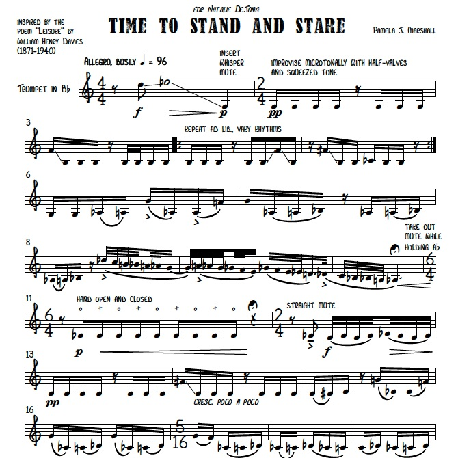 First page of Time to Stand and Stare for trumpet alone