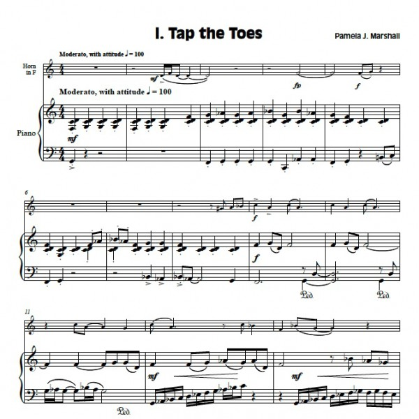 First page of Triptoe Suite, solo for intermediate horn student
