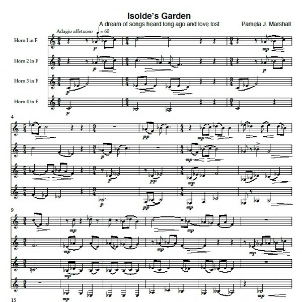 First page of score for Isolde's Garden, music for horn quartet