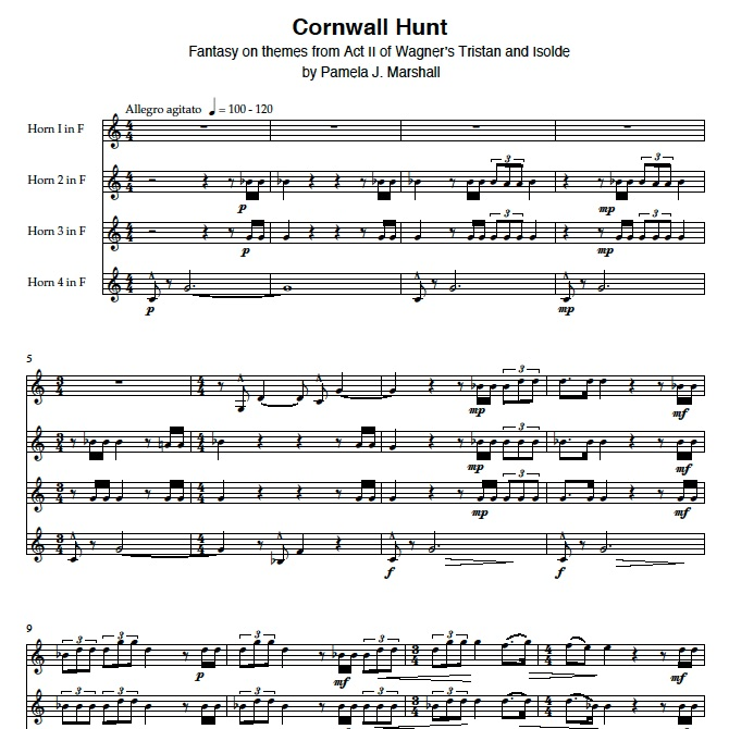 First page of score for Cornwall Hunt, music for horn quartet