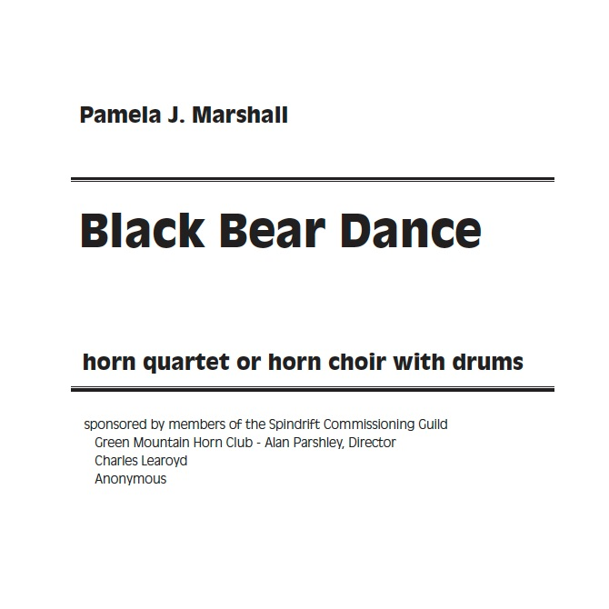 Title page of Black Bear Dance, music for horn ensemble