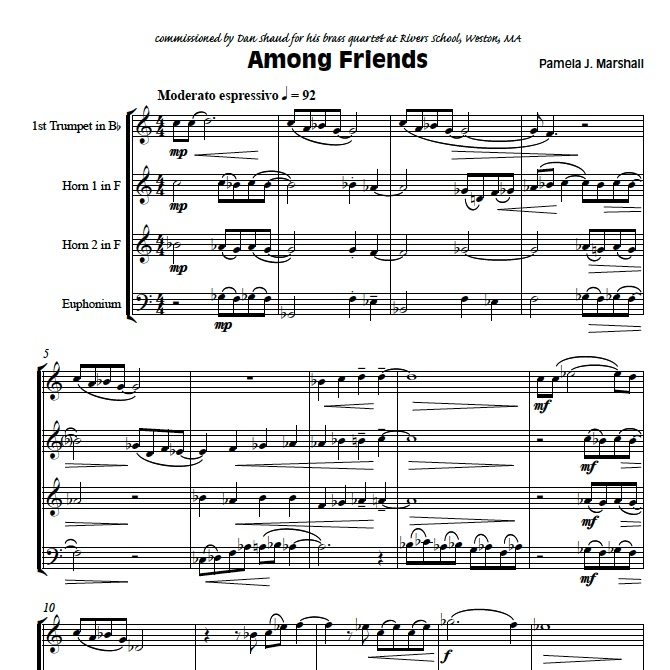 Page from Among Friends, contemporary chamber music for brass ensemble