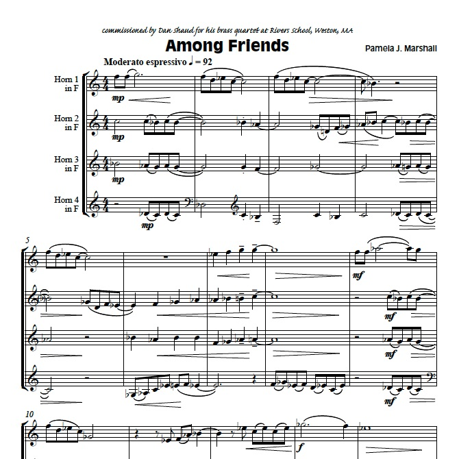 Page from Among Friends, contemporary chamber music for horn quartet