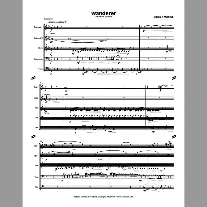 Page from Wanderer, contemporary chamber music for brass quintet