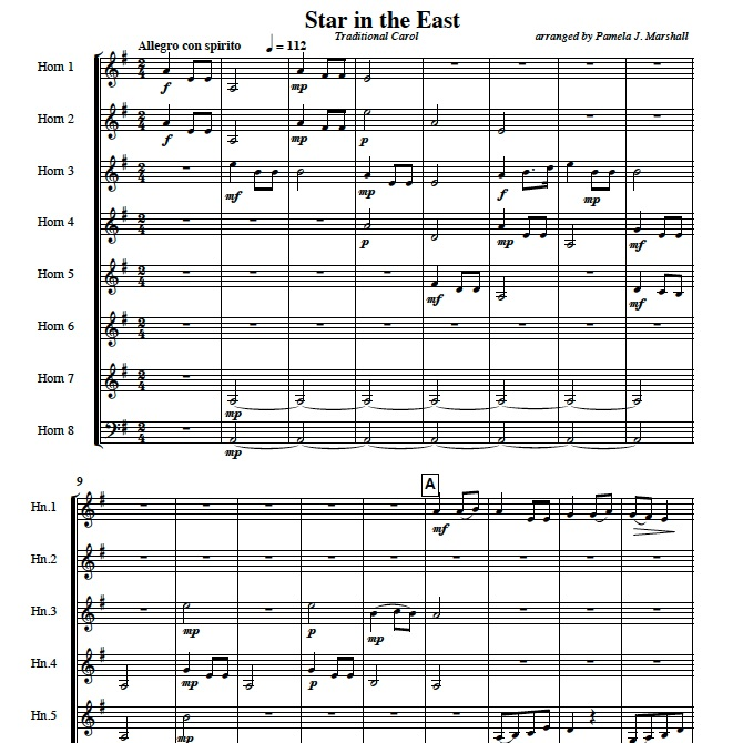 Page from Star in the East, Christmas music for horn ensemble