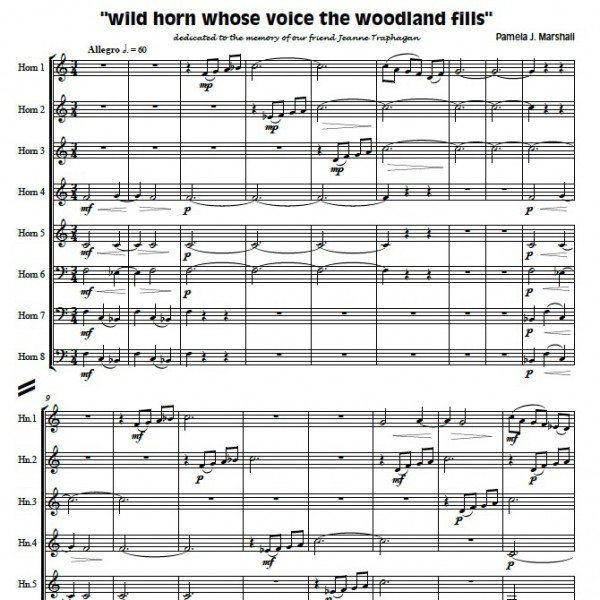 "Page from ""wild horn..."", contemporary music for horn ensemble"