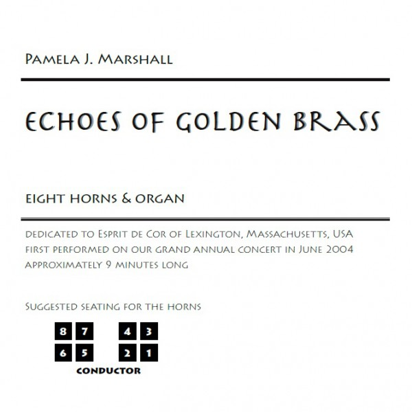 Information page from Echoes of Golden Brass, music for eight horns and organ