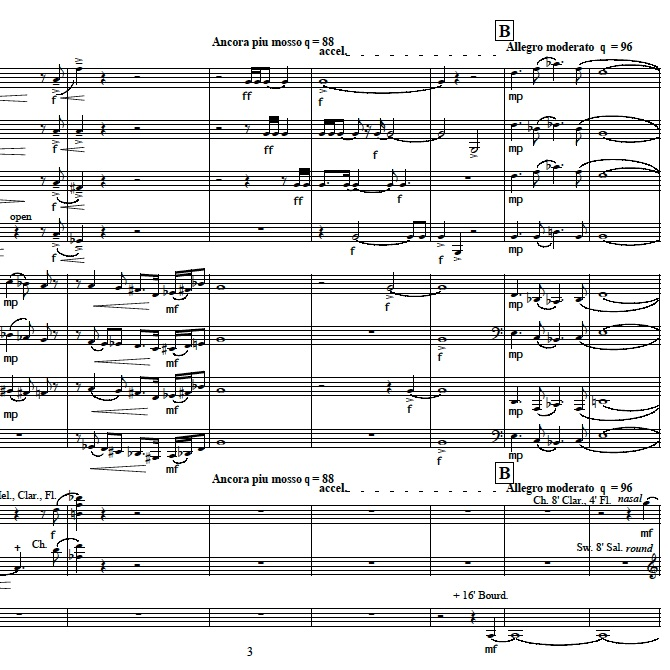 Page from Echoes of Golden Brass, music for eight horns and organ
