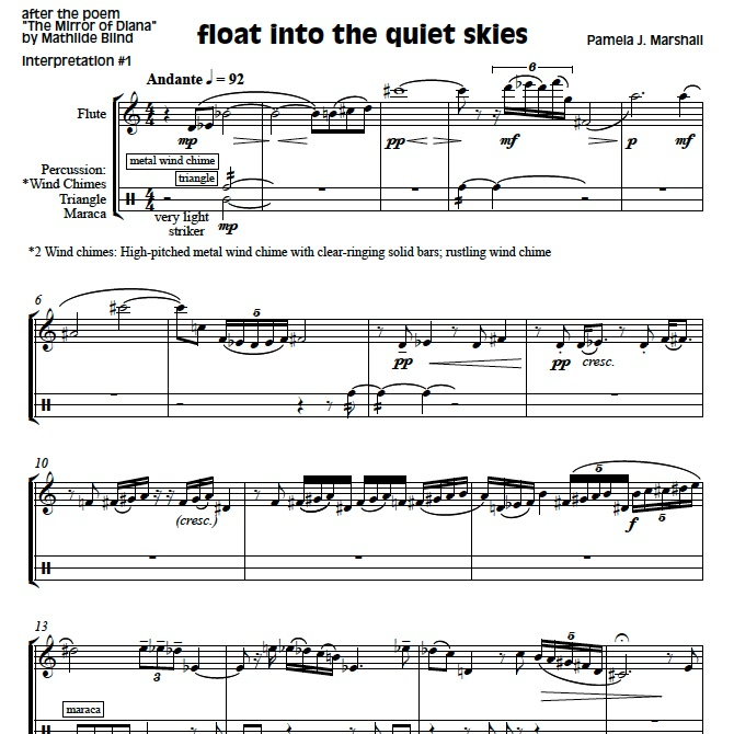 Page from Mirror of Diana, contemporary chamber music for flute and percussion