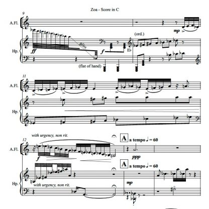 Zoa, contemporary chamber music for flute and harp, page 2