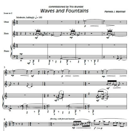 Page from Waves and Fountains, contemporary chamber music with oboe, horn, piano