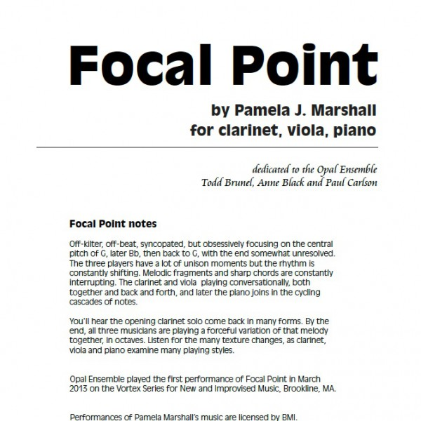 Cover of Focal Point, contemporary chamber music with clarinet, viola, piano