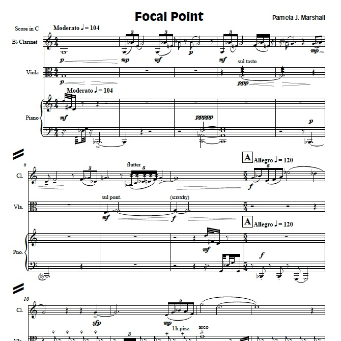 Page from Focal Point, contemporary chamber music with clarinet, viola, piano