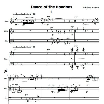 Page from Dance of the Hoodoos, contemporary chamber music with oboe