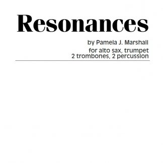 Cover page for Resonances, contemporary chamber music for sax, brass, and percussion
