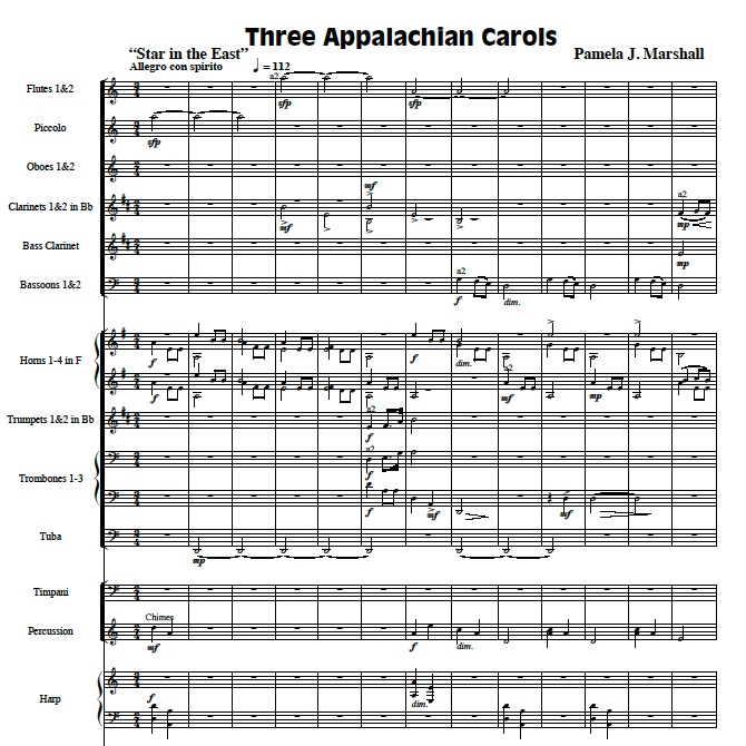 First page of Three Appalachian Carols for orchestra