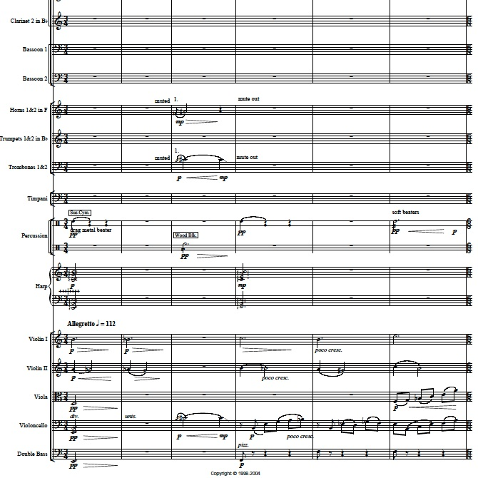 Page 1, in mvt 1, of Through the Mist for orchestra